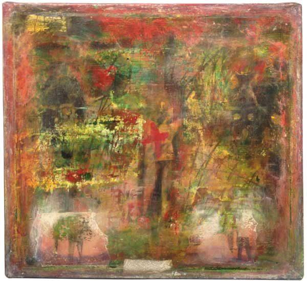 Målning vid namn RödGrön av Jc Larsson - Medlem i Dymlingen