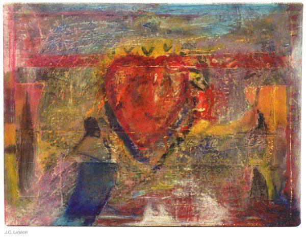 Målningen Rött hjärta av JC Larsson medlem i Dymlingen
