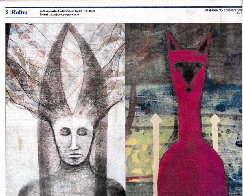 Solveig Bergströms recension av utställningen Publicerad i Jönköpings Posten 9 oktober